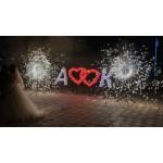 Горящая надпись контурными свечами 20000+ рублей